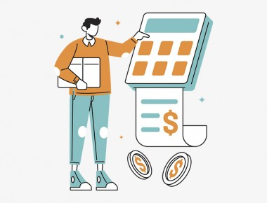 illustration of a person using a calculator